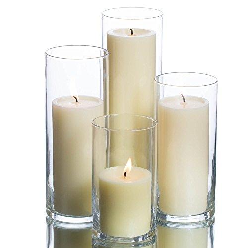 Eastland Cylinder Pillar Holder & Richland Pillar Candles Ivory Set of 4