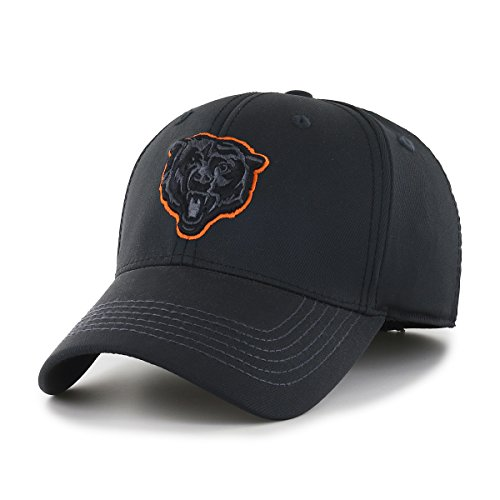 OTS NFL Chicago Bears Wilder Center Stretch Fit Hat, Black, Large/X-Large