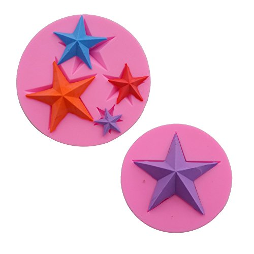 Silicone Cup Star (Efivs Arts Ocean Series Silicone Mold Fondant Mold Cupcake Cake Decoration Tool Star Set Large 3.25