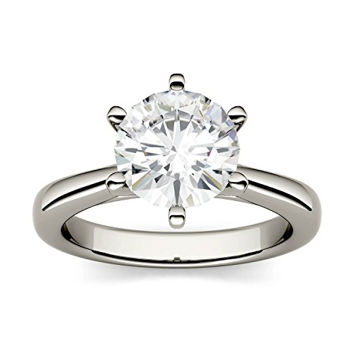 - White Gold 8mm Moissanite by Charles & Colvard 6-Prong Solitaire Engagement Ring-size 7, 1.9cttw DEW