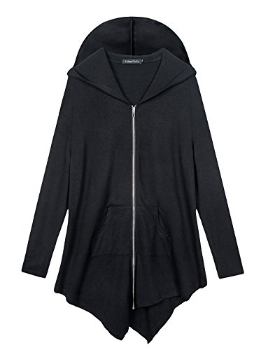 (Urban CoCo Women's Hooded Sweatshirt Jacket Cape Style (2XL, Black))