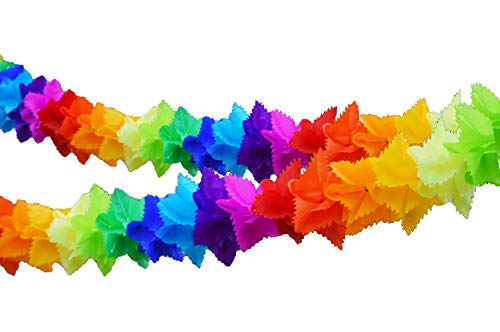 2 Pack. Mulicolor Square.9 inches wideTissue Paper Flower Garland Decoration]()