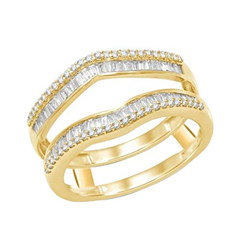 OMEGA JEWELLERY 1/2 ct Natural Round and Baguette Diamonds Enhancer Wrap Guard Ring 14K Yellow Gold Over (Yellow Gold Ring Wrap)