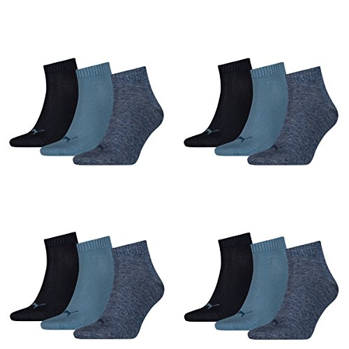 12 pair Puma Sneaker Quarter Socks Unisex Mens & Ladies 460 denim blue