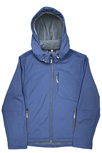 Women's Water Repellent and Wind Proof Breathable Soft Shell Gear Apex Jacket with Removable Hood (Blue, L)