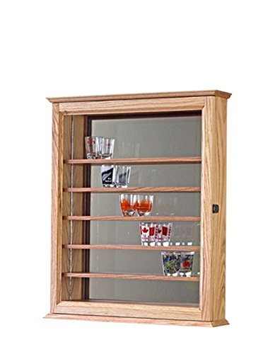 Shot Glass Shooter Display Case Mirror Wall Cabinet- Oak Hardwood *Made in the USA*