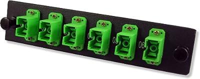 Lynn Electronics 6 Fiber SC APC Singlemode Adapter Strip, 6 Simplex SC APC Ports, LGX Footprint