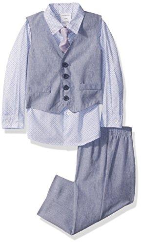 Van Heusen Baby Boys 4-Piece Patterned Dresswear Vest Set, Linen Blue Hydrangea, 18M]()