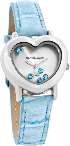 Daniel David Women's | Fashion Silver-Tone Aquamarine Heart-Shaped Watch | VD05001
