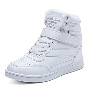 AFFINEST Women's Hidden Wedges Ankle Boots High Top Fashion Sneakers height Increase Platform Casual Shoes(White-P,40)
