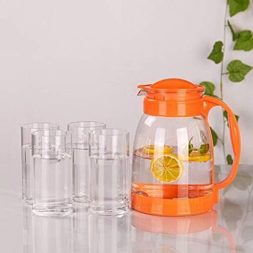 冷水ボトル大容量ガラス高温フラワーティーポットセットクールホワイトウォーターボトル QDDSP (Color : Orange)