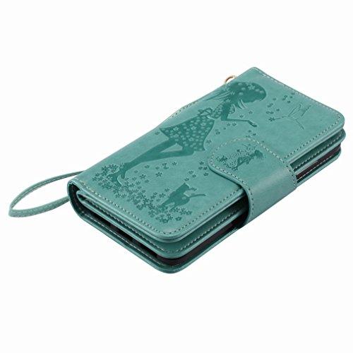 Yiizy Huawei P8 Lite (2017) / Honor 8 Lite / Nova Lite Custodia Cover, Ragazza Goffratura Design Sottile Flip Portafoglio PU Pelle Cuoio Copertura Shell Case Slot Schede Cavalletto Stile Libro Bumper