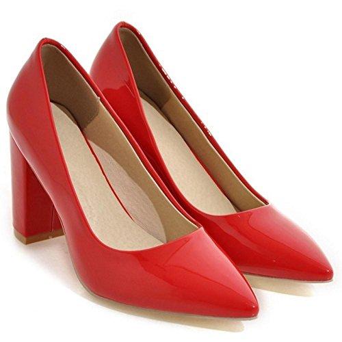 High TAOFFEN TAOFFEN Pumps Shoes Heel Red Women 15 Block Women HwRpq