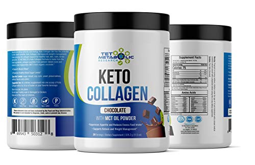 Keto MCT Collagen Protein Peptide Powder with Organic Coconut - Chocolate. Fat Burn, Energy, Metabolism, Lean Muscles, Appetite Control.