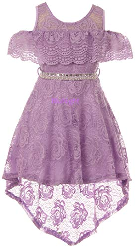 Little Girls Cold Shoulder Floral Lace High Low Wedding Bridesmaid Flower Girl Dress Lilac 6 (2J1K7S6)