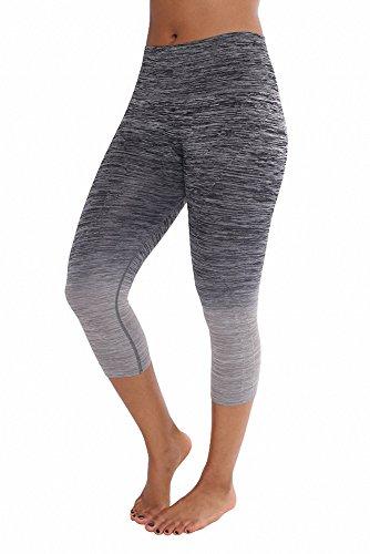 (Sassy Apparel Womens Ombre Two Tone Workout Capri Pants (X-Large, Black/Gray))