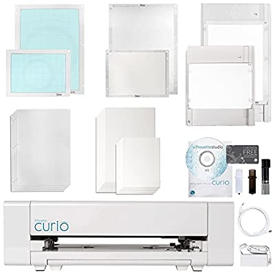Silhouette Curio Machine with Large 12 Inch X 8.5 Inch Base and Embossing Bundle