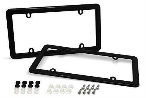 (Cruizin Along 4 Hole Classic License Plate Frames with Fastener Caps and Mounting Hardware - 2 PC Value Pack (Black))