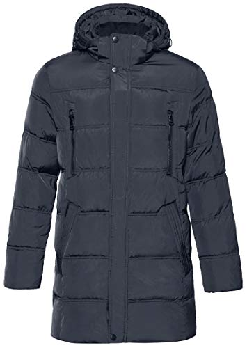(ICEbear Men's Winter Thicken Coat Long Quilted Puffer Jacket with Hood Navy Blue)
