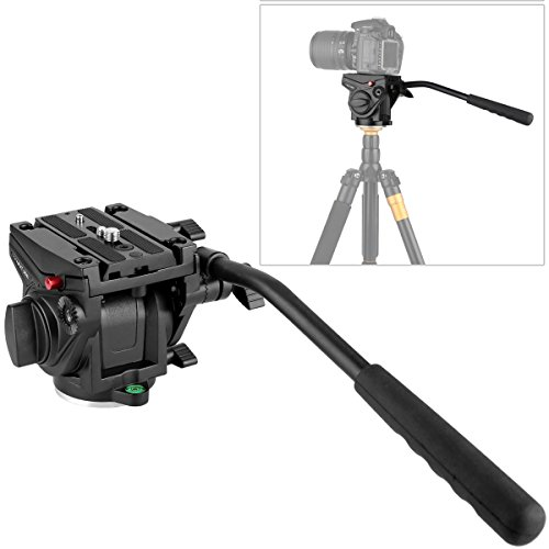 KINGJOY Heavy Duty Video Camera Fluid Drag Head, VT-3510 with Fluid Drag Pan Tilt Head for DSLR Camera Video Camcorder Shooting Filming