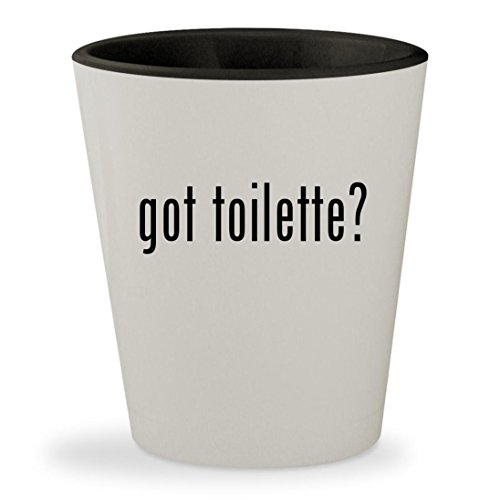 got toilette? - White Outer & Black Inner Ceramic 1.5oz Shot - Black Diorissimo