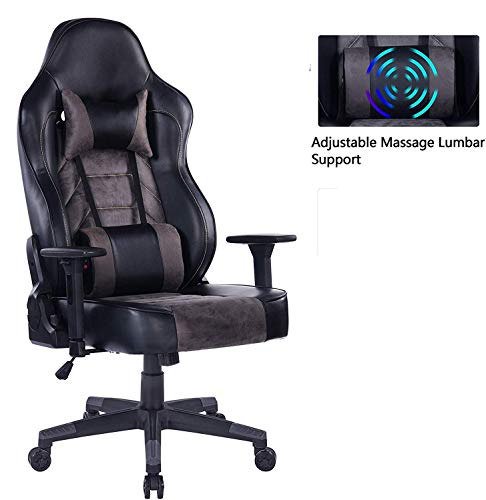 HEALGEN Gaming Chair with Massage Lumbar Pillow, PC Computer Video Game Racing Chair Reclining Executive Ergonomic Office Desk Chair with Headrest 8291-Grey