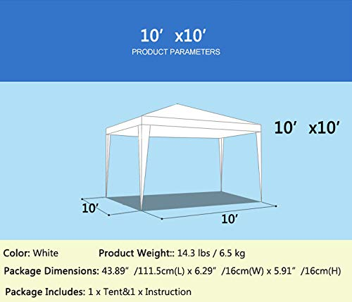 Senrob Canopy Tent Outdoor Beach Wedding Party Car Activity Event White Removable (10' x 10'(14.3 lbs)) by Senrob (Image #2)