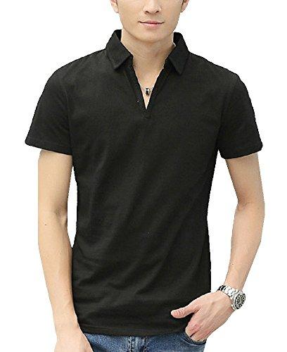 Heaven Days(ヘブンデイズ) ポロシャツ ゴルフシャツ スキッパー 無地 シンプル 半袖 メンズ 1706G0684