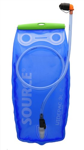 Source Outdoor Widepac Hydration System Reservoir With Helix Bite Valve  3 Liter  Transparent Blue