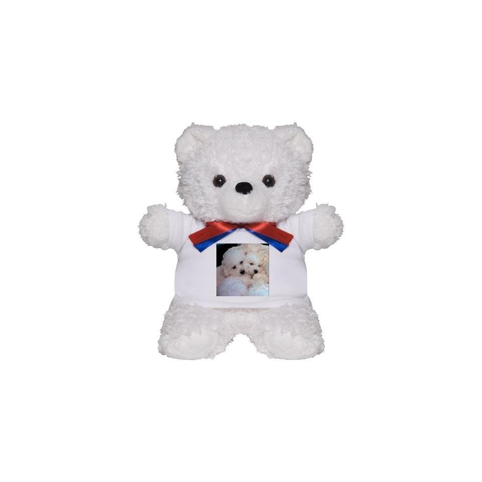 BICHONS IN LOVE RED RIBBON TEDDY BEAR Pets Teddy Bear by