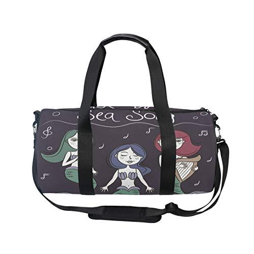 MUOOUM Mermaid Sea Song Sports Gym Bag Travel Duffel Bag for Women and Men Luggage Handbag -