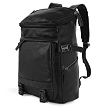Koolertron Synthetic Leather Backpack Business Fashion Bag Daypack Fits 14 Inch Laptop Computer MacBook, iPhone, iPad and Samsung Tablet for Work School Photography Camping Travel