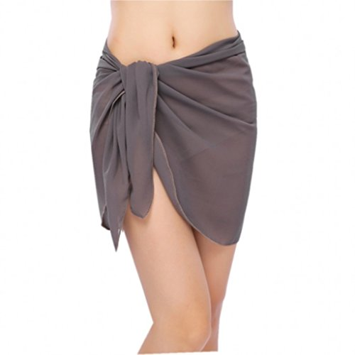 41ca6f1c1e Bitefuyw Sheer Chiffon Swim Beach Short Sarong Wrap Pareo Swimsuit Wrap  Skirt Cover-up Solid
