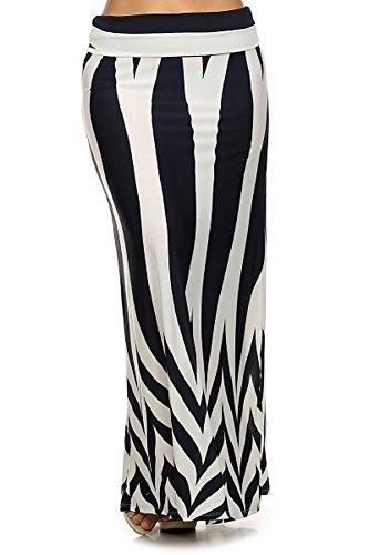 Modern Kiwi Lined Chevron Printed Plus Size Stretch Maxi Skirt Black 1X