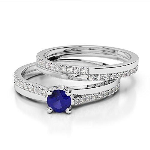 G-H/VS 0.25CT Coupe ronde sertie de diamants Saphir et diamants blancs et bague de fiançailles en platine 950Agdr-1060