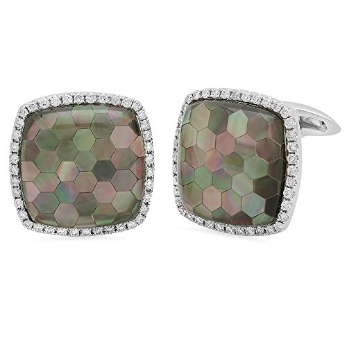 - 18k Gold 0.7CTW Diamond Cuff Links