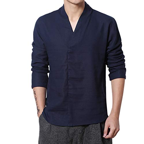 Beautyfine Ethnic Style Men's Solid Color Cotton Linen