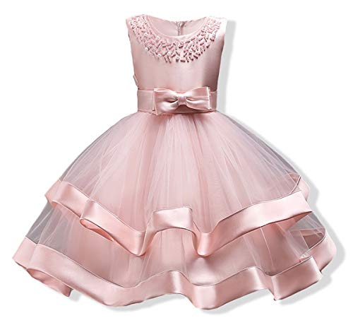 AYOMIS Girls Lace Bridesmaid Dress Wedding Pageant Dresses Tulle Party Gown Age 3-9Y(Pink,5-6Y) -