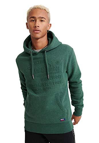 Superdry Sweater Herren Sweat Shirt Shop Embossed Hood Buck Green Marl