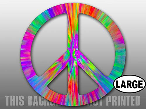 MAGNET 8x8 inch LARGE Round Tie Dye Peace Sign Sticker -hippie imagine dyed love no war Magnetic vinyl bumper sticker sticks to any metal fridge, car, signs