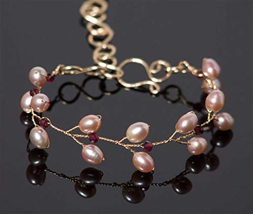 Red Garnet Branch Bracelet with Freshwater Pearls in 14k Gold Fill Handmade Wire Jewelry