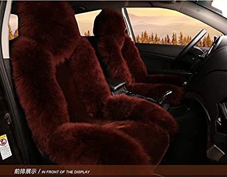 OFLBA Luxury Thick Wool Genuine Sheepskin Car Seat Cover Fur Wrap Seat Covers Sideless Airbag Sheep skin Rug Fleece Universal Fit For Automobile Warm in Winter (pink) Nangong Linjun Fur Co. Ltd