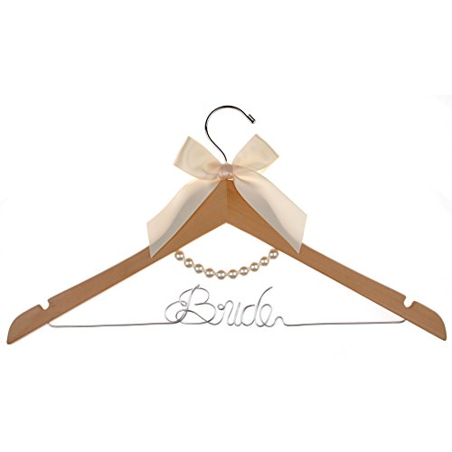 Vnque Bride Wedding Hanger Bridal Shower Gift (Natural wood) by Vnque