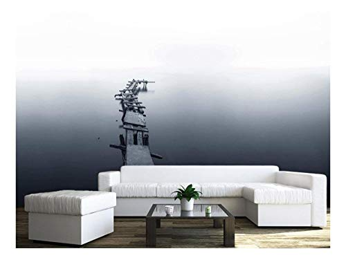 Large Wall Mural Minimalism Style Landscape of an Old Wood Pier Above Calm Water Vinyl Wallpaper Removable Wall Decor
