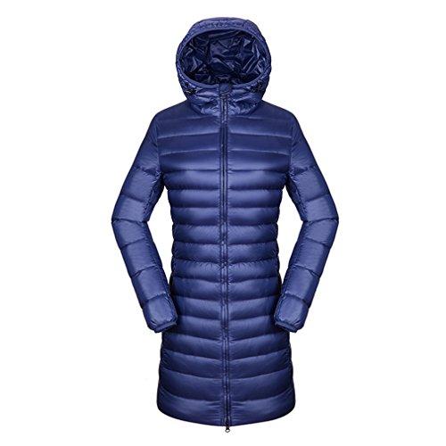 Outerwear Parka emansmoer Winter Down Windproof Blue Duck Light Coat Long Sleeve Women's Long Puffer Dark Ultra Jacket Hoodie Warm aqxA56wq
