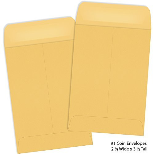 #1 Coin Envelope Brown Kraft 2 1/4″ x 3 1/2″ 50 Envelopes per Pack