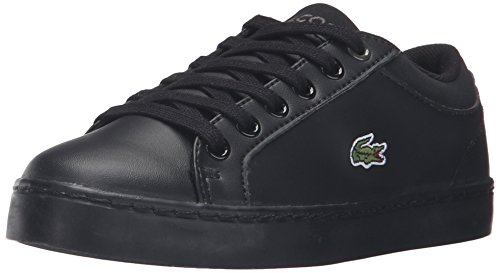 Image of Lacoste Unisex Straightset (Baby) Kids Sneaker, Black, 12. M US Little Kid