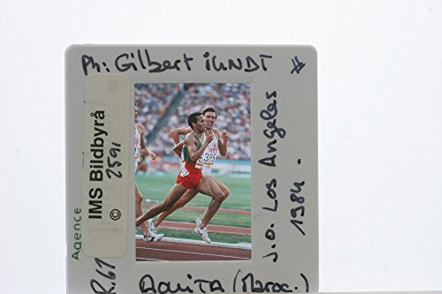 Slides photo of Sa239;d Aouita and David Moorcroft in action, during the 1984 Summer Olympics.