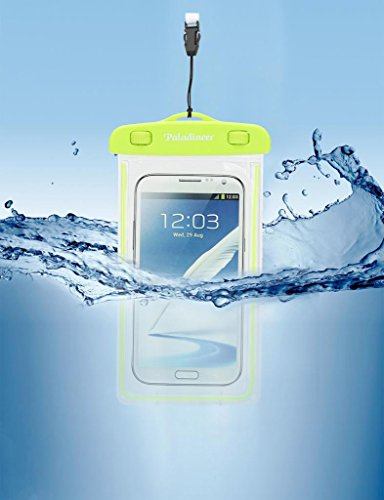 Paladineer Waterproof Cell Phone Carrying Fluorescent Cases with IPX8 Certificate Universal Waterproof Pouch with Touch Responsive Front and Back Transparent Screen Protector Windows for Apple iPhone 6 Plus/6/5S/5C/5/4S Samsung Galaxy S5/S4 Note2/3/4 HTC Desire Sony Z2/Z3 WB02 Yellow