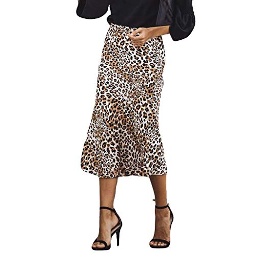 TOTAMALA Women High Waist Chiffon Leopard Print Fashion Girls A-line Uniform Pleated Skirt Khaki